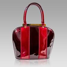 valentino orlandi marsala red patent leather purse bowling bag