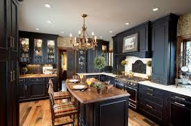 image of dark wood kitchen design