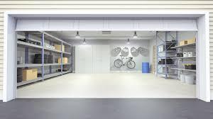 photo of a garage interior with garage door open