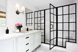 black framed shower doors