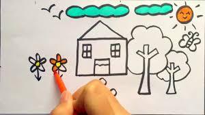 tập vẽ ngôi nhà và vườn cây của gia đinh em - YouTube