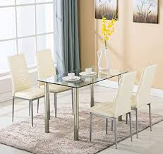Image Unavailable. not available for. Color: 5 Piece Dining Table Set 4 Chairs Glass Metal Kitchen Room Amazon.com -
