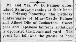 Grant Rine Attended Birthday Party Given By Mr and Mrs W D Palmer of  Trinway - Part 1 - Newspapers.com