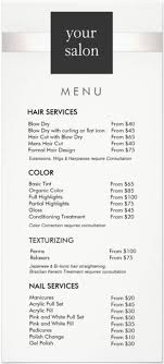 39 por hair salon services menu