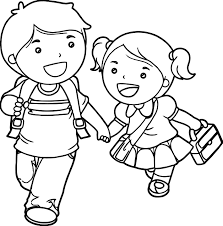 Small Picture Boy And Girl Lets Go School Coloring Page Wecoloringpage