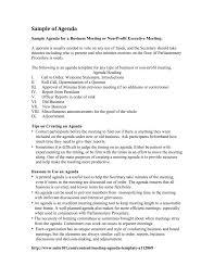 Sample Of Agenda Sample Agendas And Minutes