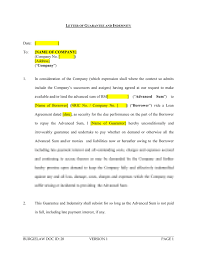 Letter Of Guarantee And Indemnity Lender Template