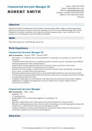 Commercial Account Manager Resume Samples Qwikresume