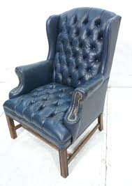 blue wingback chair. Navy Blue Wingback Chairs Leather Chesterfield Style Wing Chair Lot Cover