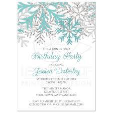 Snowflake Birthday Invitations Birthday Invitations Winter Snowflake Teal Silver