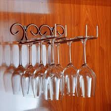 vintage style metal wine glass rack 2 rows wall mounted wine glass hanger holder 1 of 6free see more