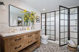 los angeles pottery barn moorish tile rug bathroom traditional with round corner mirror clear shade double shower door