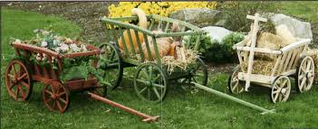 Amish Country Woodcraft Outdoor Lawn And Garden Decoration Decorative  Garden Carts Wagons