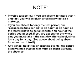 physics wed your assigned seat begin quietly note physics test policy if you are absent for more than 1 unit test