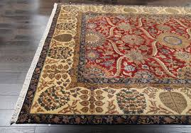 rugsville hand knotted red gold persian crown wool rug 270 x 370