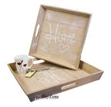 set of 2 wooden serving tray retro vintage style handles tea coffee breakfast