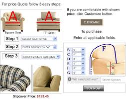 Slipcover Price Chart We Makes It Easy To Price Or Purchase Custom Furniture