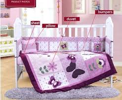 baby crib bedding sets girl embroidery purple cot bedding set crib bedding set for girls baby