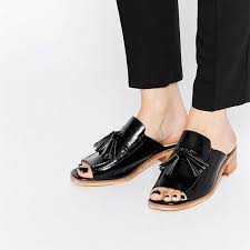 black patent leather loafer mules open toe tassel loafers for women image 1