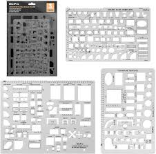 Interior Design Drafting Templates Nicpro Plastic Drafting Tools Architectural Templates 3 Psc Geometry Template For Cad Drawing House Plan Furniture Kitchen Building Interior Design