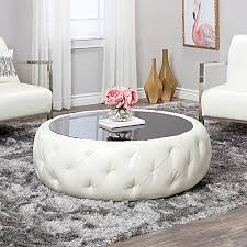 White leather coffee tables Cocktail Tufted Round Leather Coffee Table White Jumia Uganda Jumia Uganda Tufted Round Leather Coffee Table White Jumia Uganda