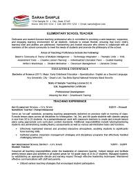 Elementary School Teacher Resume Example Sample
