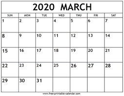 Month Of March Calendar 2020 March 2020 Calendar Template Free Printable Calendar Com