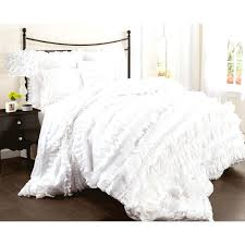 white frilled duvet cover lush decor belle 4 piece comforter set queen ruffled waterfall ruffle twin