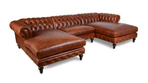 classic chesterfield double chaise leather sectional