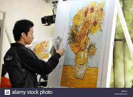 chinese copyist lu from famous chinese artist village dafen copy famous oil paintings in hamburg germany 31 may 2010 the project the most wanted