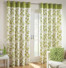 Printed Curtains Living Room Fascinating Green White Floral Curtain Design With Excellent Leaf