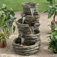 diy outdoor water fountain kits ideas how to make without pump at home electricity bubbling rock