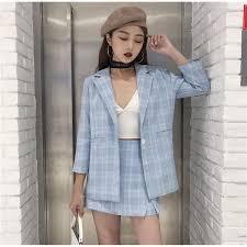 Women's apparel women's <b>Korea</b> loose thin plaid <b>small suit jacket</b> + ...