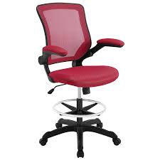 com modway veer drafting stool chair 26l x 26w x 49 5h red kitchen dining
