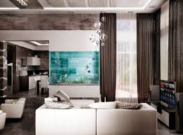 Living in black and white 100 ideas integrate aquarium designs in the wall  or in the living room