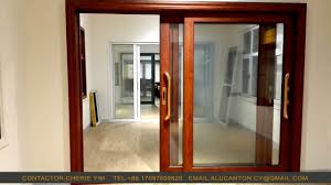 Wood grain finish aluminum sliding door - Sliding windows & doors ...