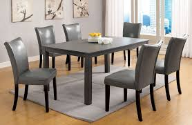 beautiful dining table with grey chairs grey dining room chairs 7pc sleek kenton gray finish dining table