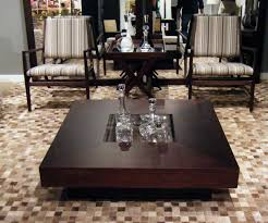 image of oversized dark wood coffee table