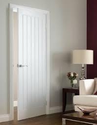premdor internal white wood primed textured boarded type vertical 5 panel door