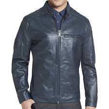 elite fashion men s blue leather jacket