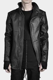 leather high collar biker jacket