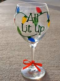 All Lit Up Christmas Wine Glass. $15.00, via Etsy.