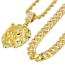 2018 metaltree98 14kt gold plated lion head pendant 22 rope 30 concave