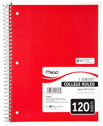 Amazon Com Mead Three Subject College Ruled Spiral Notebook 1