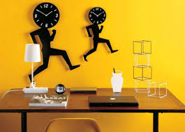 office wall decorating ideas. home office wall decor yellow design with unique clocks decorating ideas i