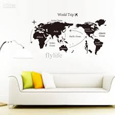 large black world map wall decals and decor stickers for living room