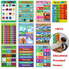 10pcs Educational Preschool Posters Charts For Toddlers Kindergarten Classrooms Includes Alphabet Letters Colors Days Of The Week Numbers 1 10 Numbers