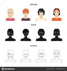 デザインのセットのコレクションの女性ヘアスタイル漫画黒