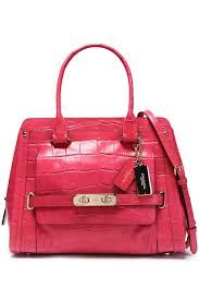 COACH. Women s Red Croc-effect Leather Shoulder Bag