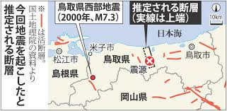 Image result for 2000年に起きたM7.3の鳥取県西部地震